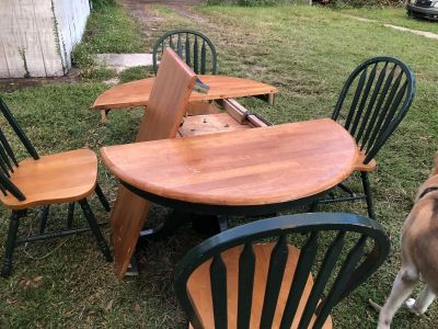 Brown/Green table with matching chairs