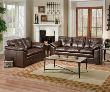 SALE ON SIMMONS SOFA  LOVESEAT LEATHER