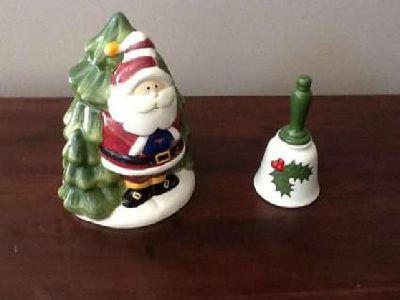 Santa Cookie Jar & Ceramic Bell