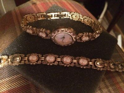 Matching watch and bracelet with Cameo highlights