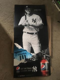 """New Aaron Judge, 6'7"""" tall by 30'days wide floor standee"""