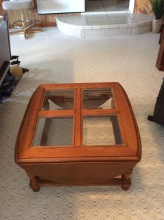 OAK WOODEN DROP LEAF COFFEE TABLE. WITH 4 BEVELED GLASS TOPS
