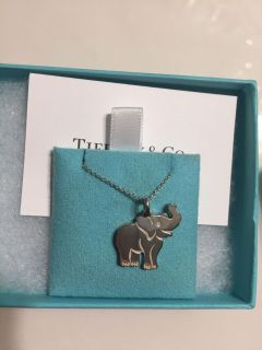 Tiffany and Co elephant necklace. Sterling silver