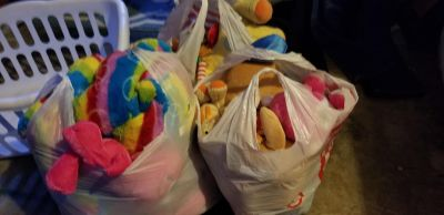 3 bags of stuffed animals- great for parade throws