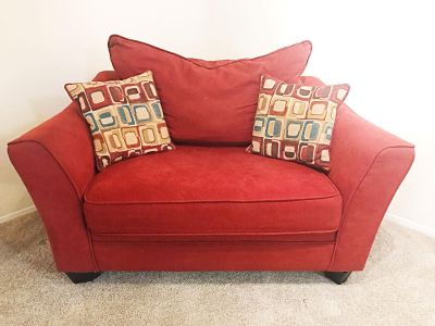 Red | Rooms to Go Oversized Chair and Sofa Set (Pillows Included)