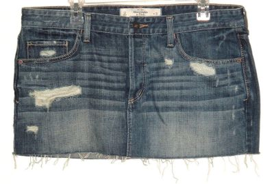 Abercrombie Fitch Button Fly Distressed Cut Off Denim Jean Skirt 12 Measures 36