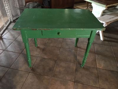 Antique green table with drawer