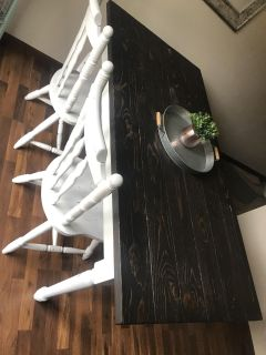 Rustic farmhouse table with chairs and bench