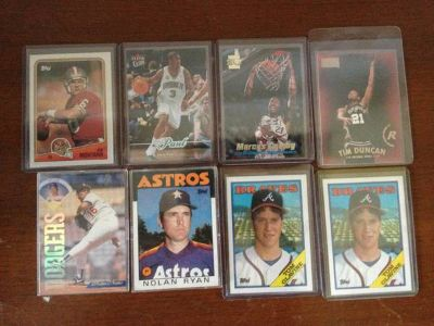Collectible cards baseball and basketball Nolan Ryan Tom Glavine Joe m