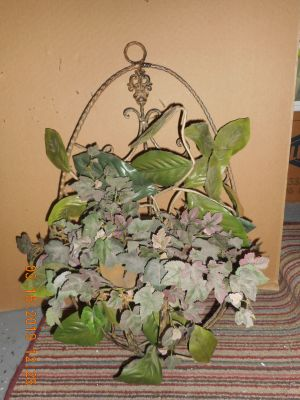 Wrought Iron Decorative Wall Hang w/Greenery