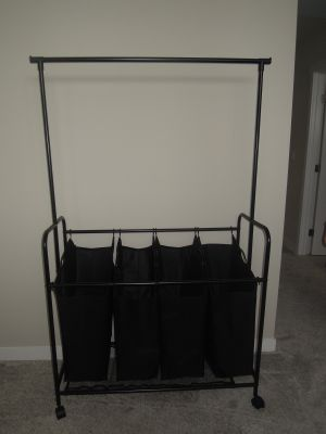 4-bag Rolling Laundry Sorter with Hanging Bar (cross posted)