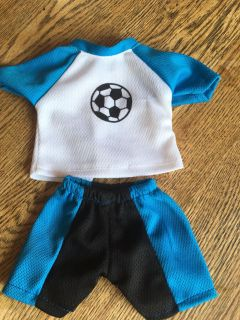 New soccer outfit, 18 doll