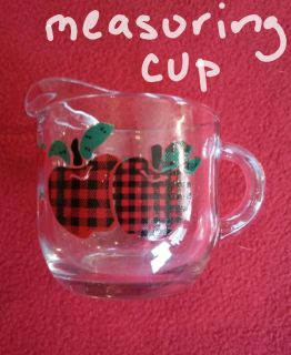 Glass apple theme measuring cup