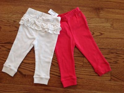 New The Children's Place Baby Girls 2-Pack Cotton Pull-On Pants, size 9-12 months