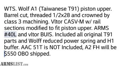 For Sale: Wolf A1 AR15 piston upper