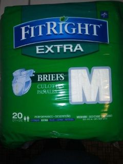 Brand New, Medline FitRight Extra Briefs, size Medium, qty 20.