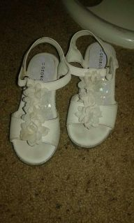 White sandals with flowers