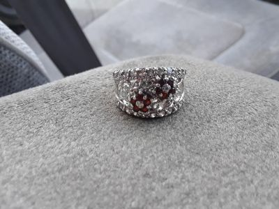 925 sterling silver ring with red rubies