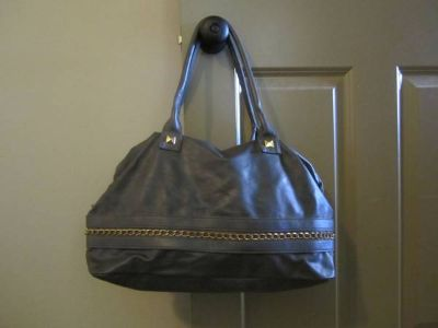 Large Grey purse with Gold Chain Detail
