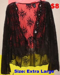 NEW YORK & COMPANY Juniors Extra Large Stretch Lace Black Cover Up. IN NEW CONDITION