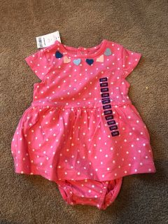 NWT Carter s Dress Onesie Pink and Polka Dots Heart