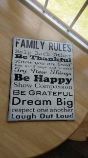 """Brand new Wood family Rules wall art measures 15"""" by 19"""""""