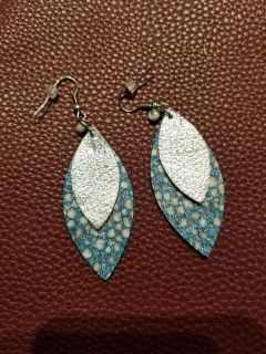 Leather double teardrop earrings with pearl. Paid $18 on etsy