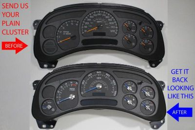 Find CUSTOM TRUCK CLUSTER REPAIR SERVICE + ESCALADE BLACK GAUGE + BLUE/CHROME NEEDLES motorcycle in Putnam, Connecticut, US, for US $225.00