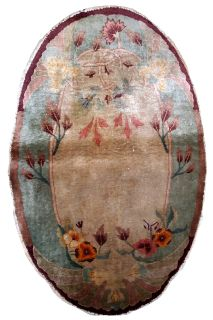 Handmade antique Art Deco Chinese oval rug, 1B610