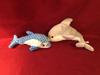 Dolphin Pair. Blue One is 11 , Grey One is 15 . EUC