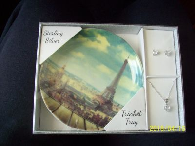 Sterling Silver Trinket Tray with Necklace & Earrings