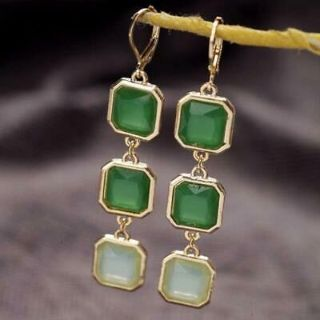 New - Green Yellow Gold Plated Earrings