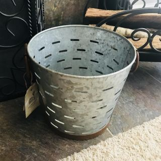 Metal olive pail/bucket, two rusty handles, 12 tall, perfect condition! Only $10!