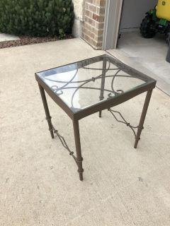 2 Glass/iron end tables