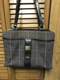 """Liz Claiborne Grey Plaid Purse With many Compartments. 12"""" Wide x 10 1/2"""" Tall With 12"""" Handles"""