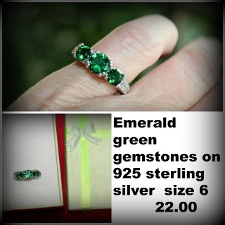 emerald gemstones set in 225 sterling silver