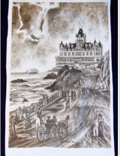Vintage 1974 J.A. Kendall `Old Cliff House` Print Art Signed