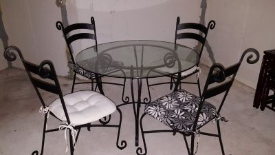 Glass Top Dining Table and Chairs (Pier1)