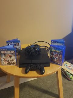 PS4 wireless controller, headset, 4 games