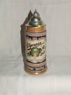 Vintage Olympia Lidded Beer Stein by Gerz of Germany