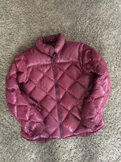 The North Face large women s coat. Darker berry color than pic shows.