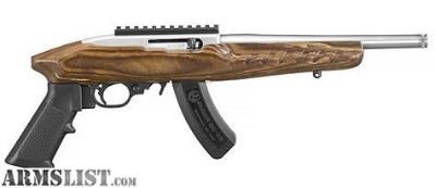 For Sale: Ruger Charger Stainless Threaded Wood Stock
