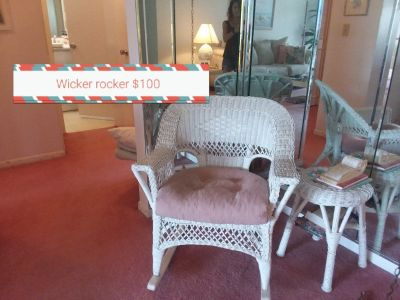 Rocking chair white wicker