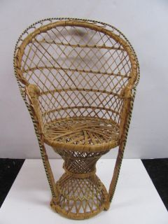 """adorable Wicker Chair for your favorite collectable doll baby or for small house plant 15"""" tall"""
