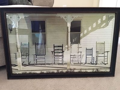 Farmhouse Style Front Porch Chair glass framed print picture