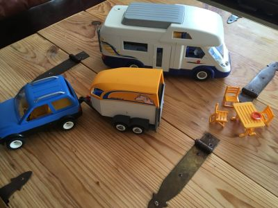 Play Mobil camper and car w/ horse trailer