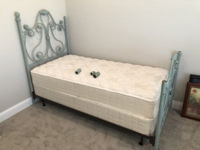 Twin Bed Frame, Matress, & Boxspring