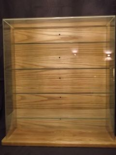 CUSTOM-BUILT OAK & PLEXIGLAS DISPLAY CASES