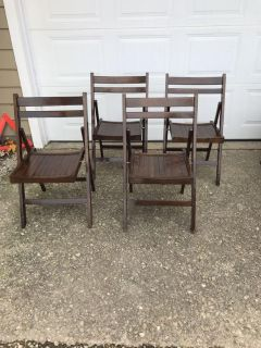 Lot of 4 wood folding chairs
