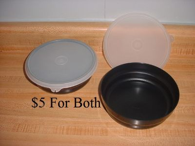 Tupperware Impressions Set Of 2 Black Bowls With Sheer Lids. Perfect For Soups, Salads, Cereal Or Leftovers! (New Vintage Condition). $5...